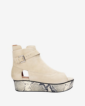 Thakoon Addition Sky Stamped Python Wedge Open Toe Bootie