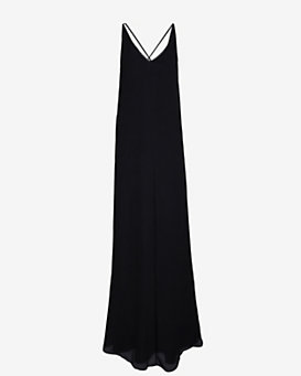 10 Crosby Derek Lam Leather Strap Crinkled Chiffon Maxi Dress