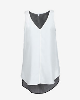 10 Crosby Derek Lam EXCLUSIVE Contrast Mesh Back Panel Sleeveless Blouse