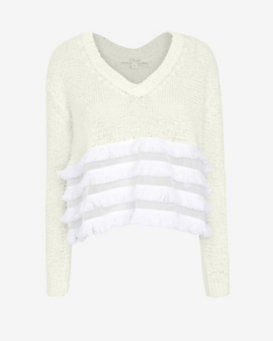 Derek Lam 10 Crosby EXCLUSIVE Tiered Fringe V Neck Sweater
