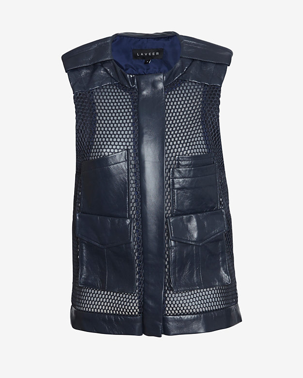 Laveer Perforated Leather Utility Vest