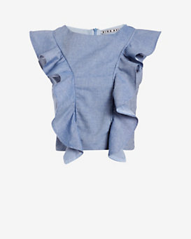 Viva Aviva EXCLUSIVE Ruffle Chambray Top