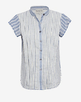 Sea Frayed Edge Striped Shirt