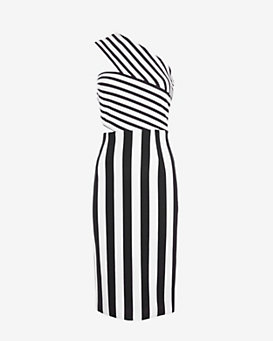 Cushnie et Ochs One Shoulder Striped Dress