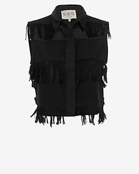 Sea Sleeveless Fringe Shirt: Black
