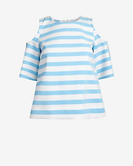Tanya Taylor Shoulder Cut Out Striped Top