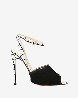 Bionda Castana Fringe Checkered Leather Sandal
