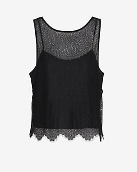 Exclusive for Intermix Snake Lace Tank: Black