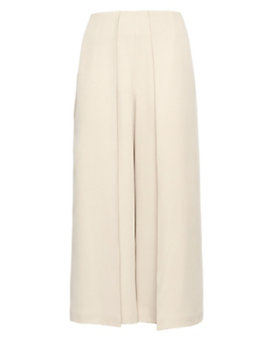 Exclusive For Intermix Celia Cropped Wide Leg Crepe Pleat Pant: Beige