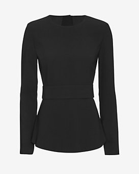 Exclusive for Intermix Nadya Open Back Crepe Top: Black