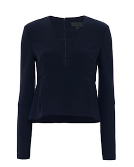 Exclusive for Intermix Nena Bell Sleeve Top: Navy