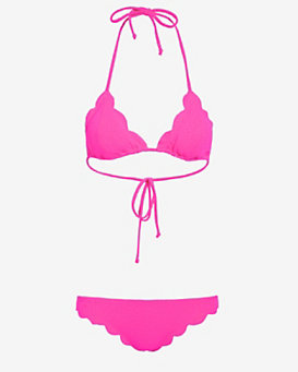 Marysia EXCLUSIVE Scallop Trim Triangle Bikini: Magenta- FINAL SALE