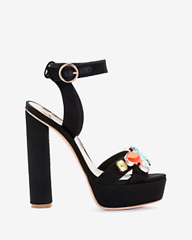 Sophia Webster Amanda Satin Gemstone Platform
