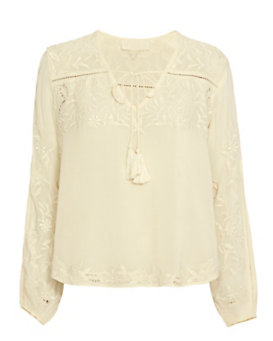 Love Sam Embroidered Blouse: Ivory