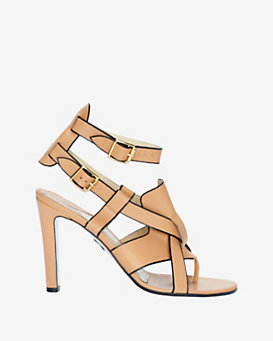 Paul Andrew Tarsus Black Piping High Sandal: Tan