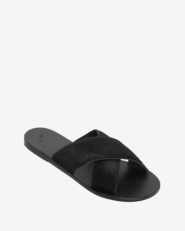 Ancient Greek Sandals Calfhair Flat Sandals: Black