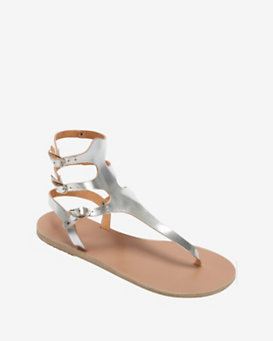 Ancient Greek Sandals Crackled Silver Metallic Gladiator Flat Sandals