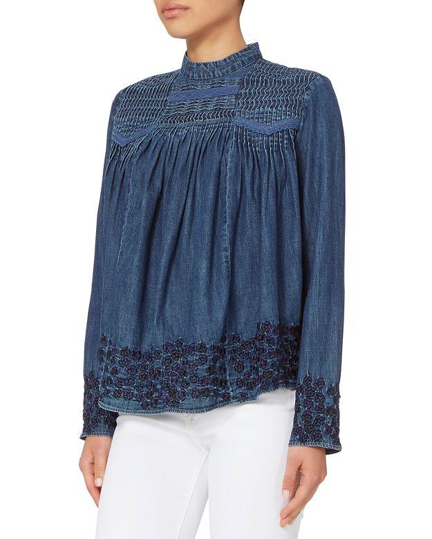 NEEDLE U0026 THREAD Denim Embroidered Blouse | ModeSens