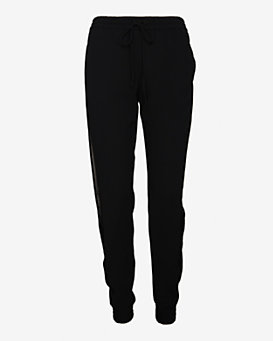 Vince Leather Side Jogging Pant: Black