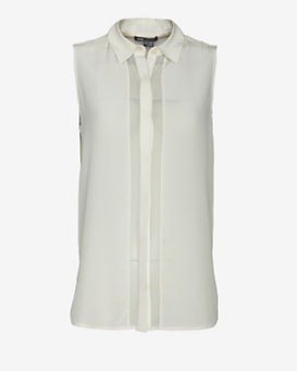 Vince Sheer Placket Sleeveless Blouse