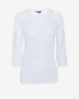 Vince Mesh Sweater: White