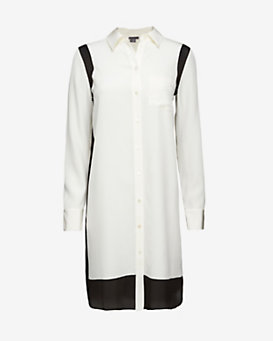 Vince Sheer Inset Shirt Dress