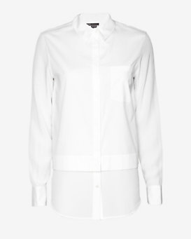 Vince Double Layer Buttondown Shirt: White