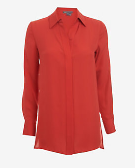 Vince Silk Blouse: Red