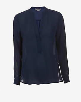 Vince EXCLUSIVE Mesh Detail Blouse: Navy