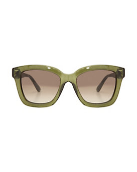 Valentino Oversized Square Sunglasses: Olive