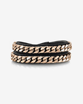 Vita Fede Monaco Double Wrap Leather/Chain Bracelet: Black
