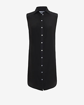Etienne Deroeux Sleeveless Silk Blend Shirt Dress: Black