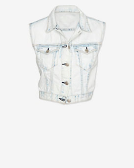 rag & bone/JEAN EXCLUSIVE Bleached Denim Crop Vest
