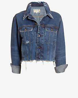 rag & bone/JEAN Unfinished Edge BF Crop Jacket: La Paz