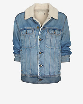 rag & bone/JEAN Huntington Fleece Lined Boyfriend Jean Jacket