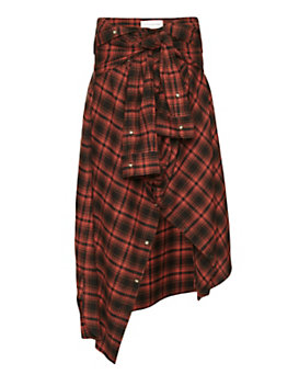 Faith Connexion Sleeve Tie Flannel Plaid Maxi Skirt