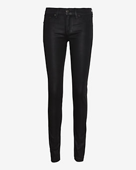 rag & bone/JEAN Coated Plush Skinny: Black
