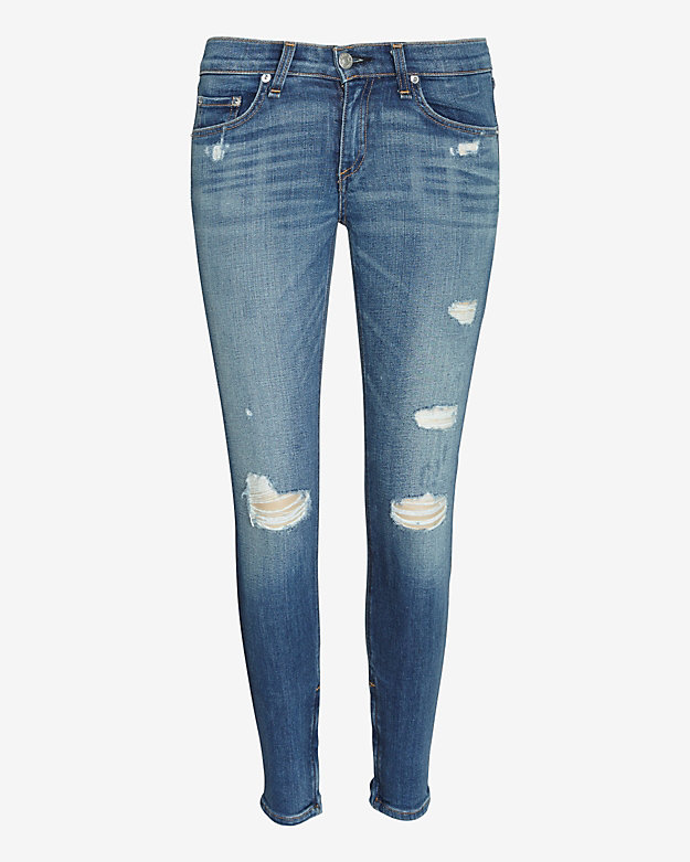 rag & bone/JEAN Shredded Ankle Zip Skinny