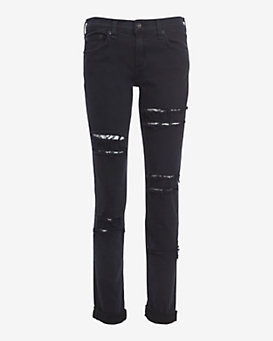 rag & bone/JEAN Blue/Black Slashed Dre