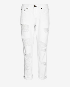 rag & bone/JEAN EXCLUSIVE Shredded Boyfriend: White