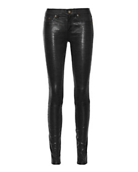 rag & bone/JEAN Washed Leather Skinny: Black