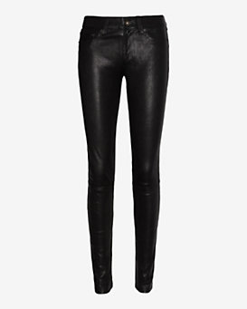 rag & bone/JEAN Washed Leather Pant: Black