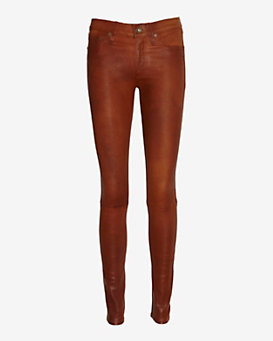 rag & bone/JEAN Washed Leather Pant: Cognac