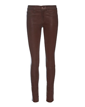 rag & bone/JEAN EXCLUSIVE Washed Leather Skinny: Burgundy