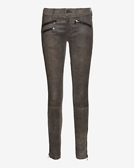 rag & bone/JEAN Triple Zipper Leopard Print Leather Skinny