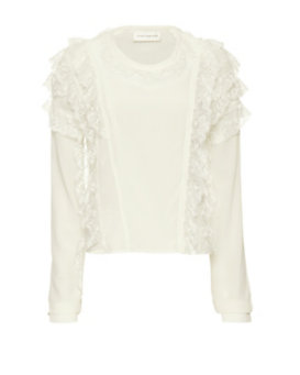 Faith Connexion Ruffled Lace Silk Blouse