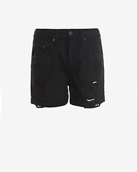 rag & bone/JEAN BF Shredded Rebel Short: Black