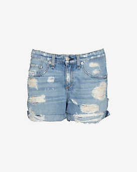 rag & bone/JEAN Shredded Boyfriend Shorts