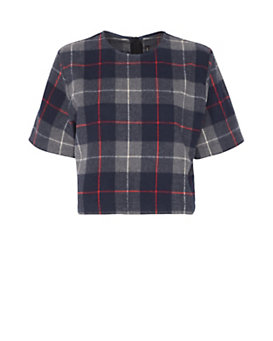 rag & bone/JEAN Plaid Crop Tee