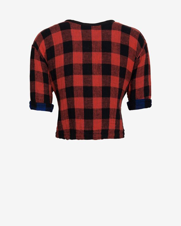 rag & bone/JEAN Reversible Plaid Crop Top